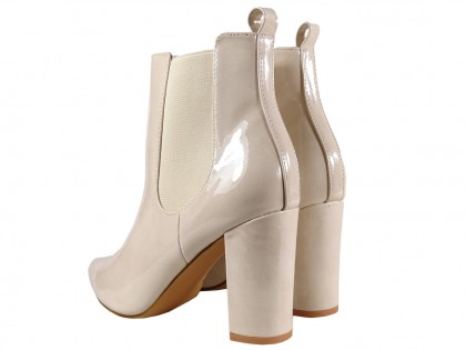 Fleshy lacquered women's heeled boots - 2