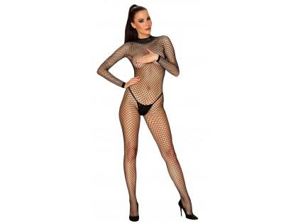 Black bodystocking cabaret erotic underwear - 1