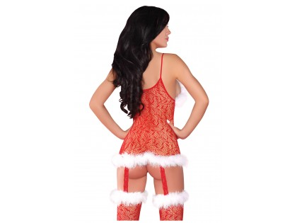 Canned red Christmas lace bodystocking - 2