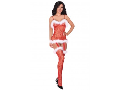 Canned red Christmas lace bodystocking - 1