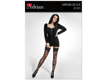 20de self-supporting stockings in roses with lace - 1