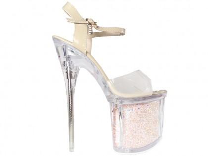 Bézs színű magas sarkú cipő az üveg platformon - 1