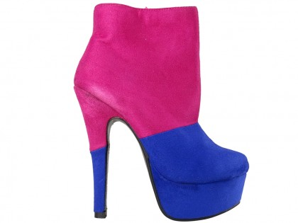 Pink blue suede boots on the platform - 1