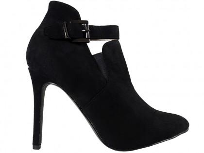 Black suede ladies' boots on pins - 1