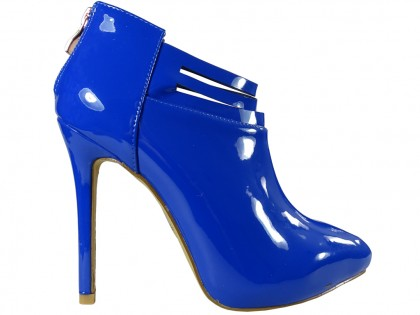 Lacquered navy blue cornflower boots for women - 1