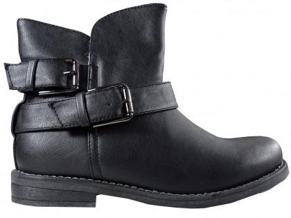 Black matt flat Eco boots warmed leather - 1
