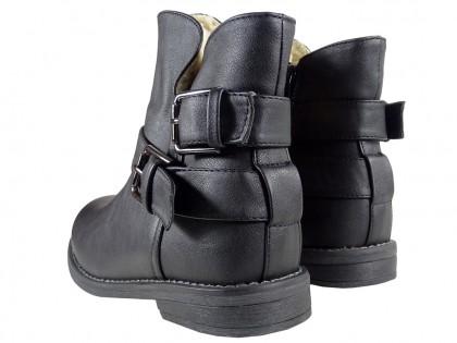 Black matt flat Eco boots warmed leather - 2