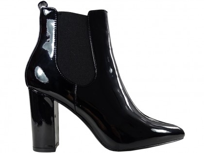 Black lacquered women's heeled boots - 1