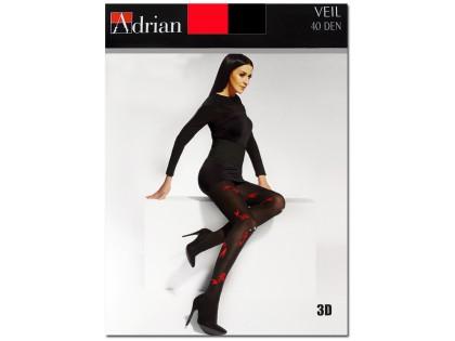 Schwarze Strumpfhose mit rotem Muster 40 den Adrian - 1