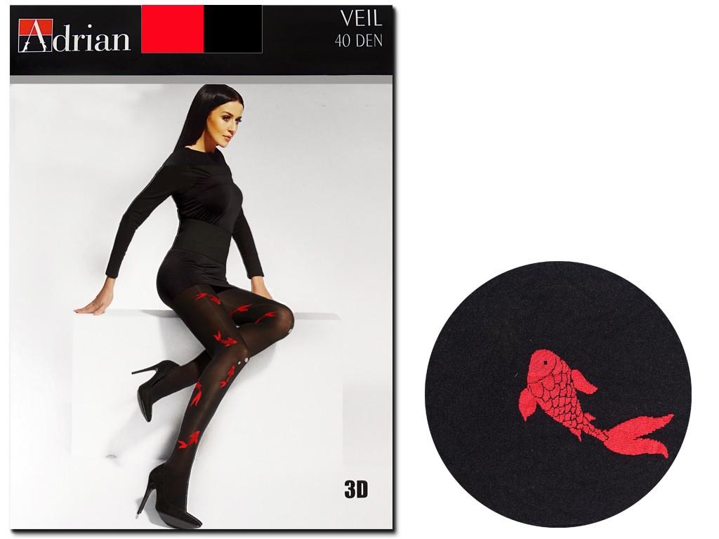 Black tights in red patterns 40 den Adrian - 3