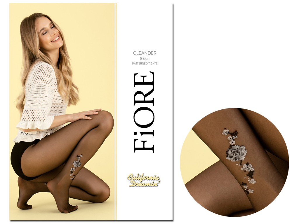 Thin 8den transparent tights with flower ankle - 4