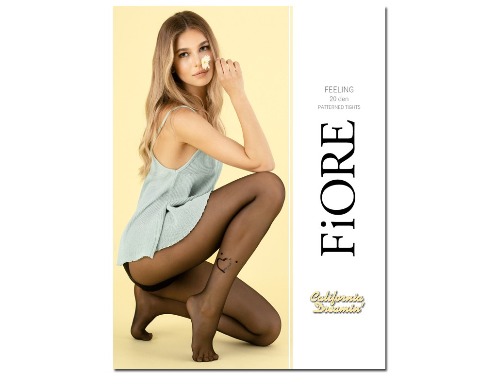 Smooth transparent tights with a heart at the ankle - 1