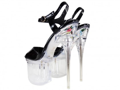 Black glass stilettos erotic shoes - 2