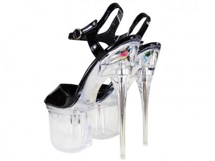 Schwarzes Glas Stilettos erotische Schuhe - 2