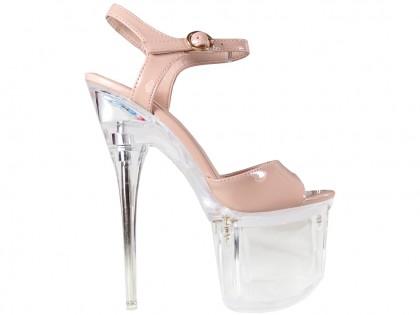 Beige Stiletto Glas erotische Schuhe - 1