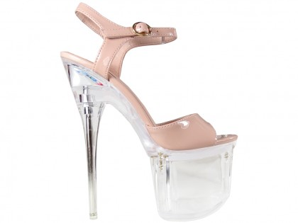 Beige stiletto glass erotic shoes - 1