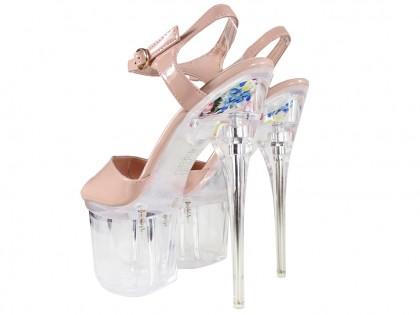 Beige Stiletto Glas erotische Schuhe - 2
