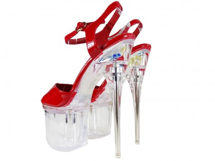 Red glass stilettos erotic shoes - 2