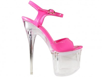 Pink stiletto glass erotic shoes - 1