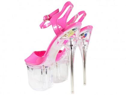 Rózsaszín magas sarkú szemüveg erotikus cipő - 2