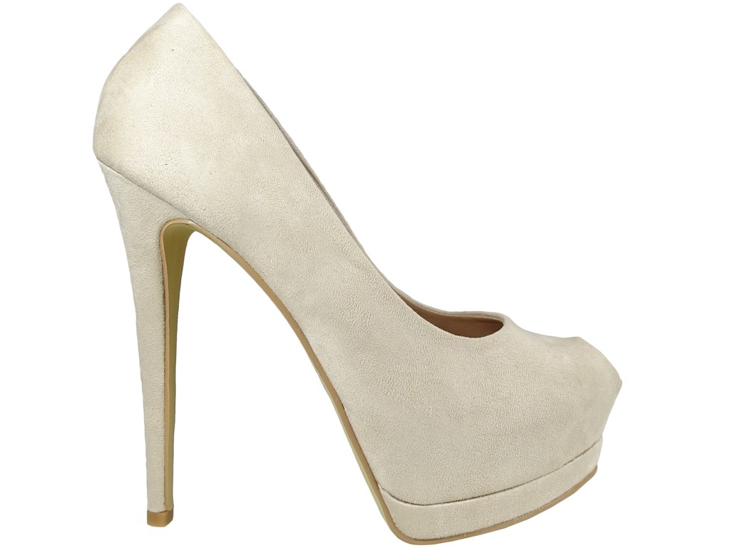 Beige suede stiletto heels on a toeless platform - 1