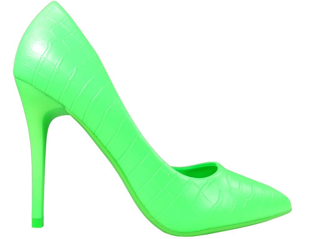 Green neon matte stiletto heels - 1