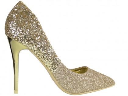 Gold brocade ombre stilettos - 1