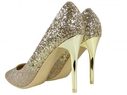 Zlaté třpytivé podpatky - 2