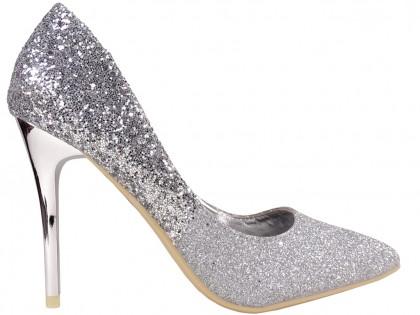 Ezüst csillámos ombre tűsarkú cipők - 1