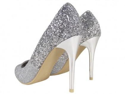 Ezüst csillámos ombre tűsarkú cipők - 2