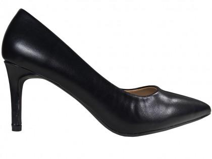 Women's low black matte stilettos - 1