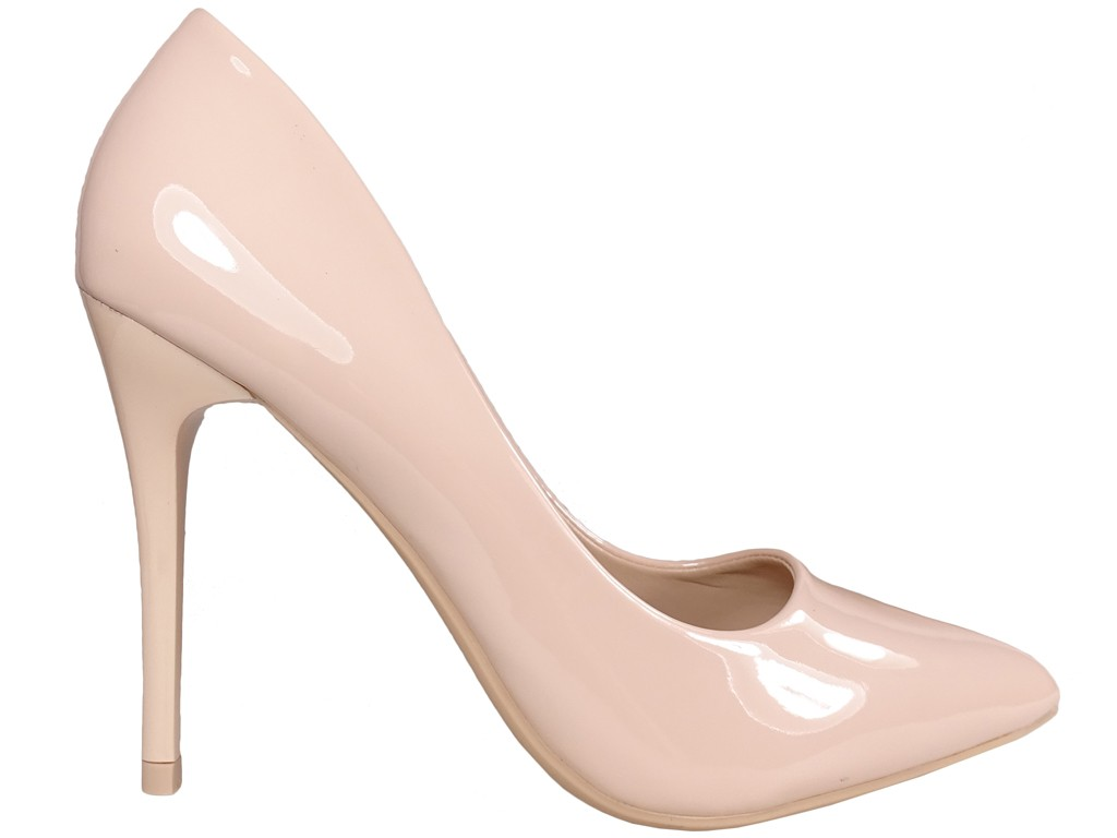 Beige nude stiletto heels eko leather - 1
