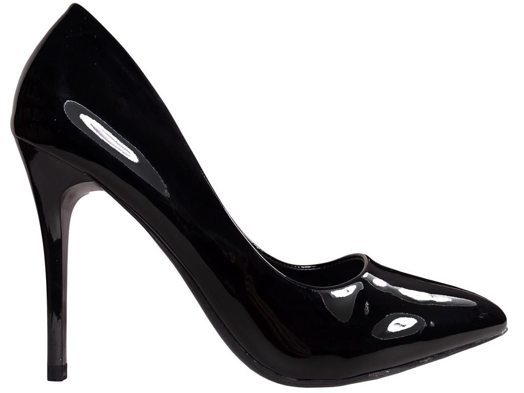 Black patent leather stilettos - 1