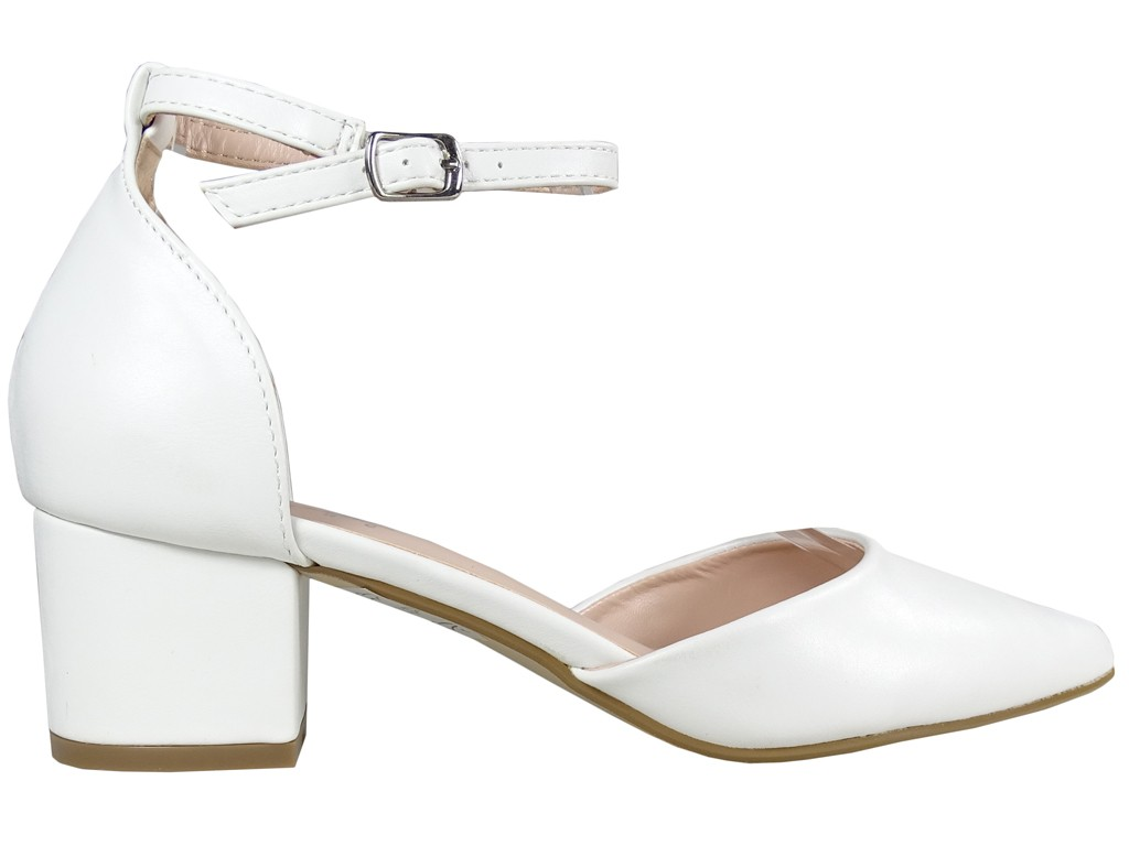 White matte wedding pumps with ankle strap - 1