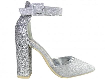 Silver brocade stiletto heels with strap - 1