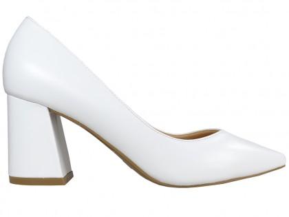 Weiße Stiletto Pumps Hochzeit eko Leder - 1