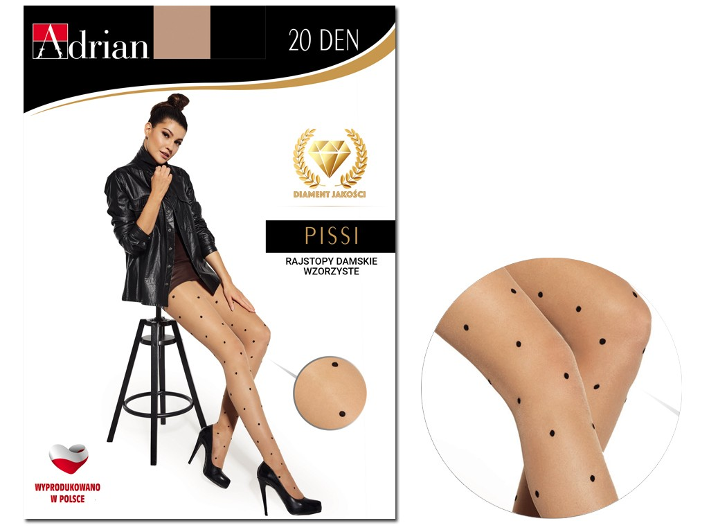 Flesh-coloured tights with black dots 20den