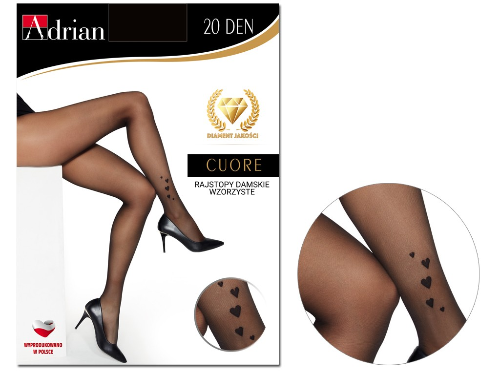 Women's tights with hearts in ankle 20 den