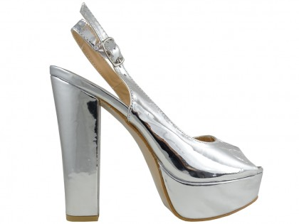 Silver sandals on the eco leather mirror platform - 1
