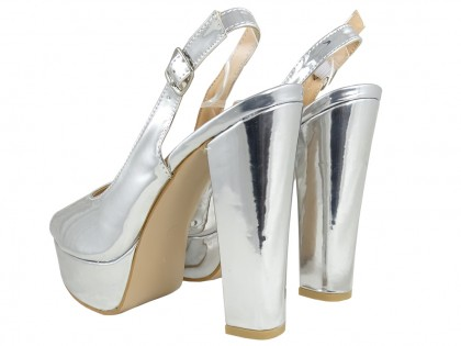 Silver sandals on the eco leather mirror platform - 2