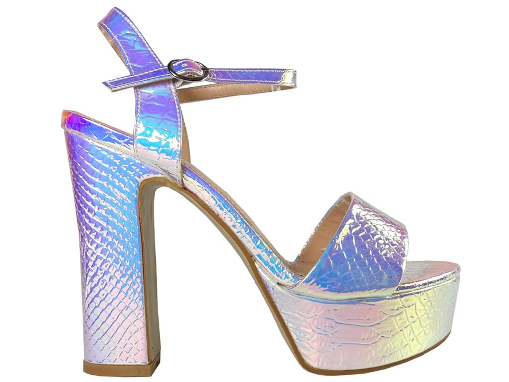 Sandały na platformie opalizujące srebrne - 1