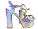 Sandały na platformie opalizujące srebrne - 3