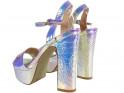 Sandały na platformie opalizujące srebrne - 2