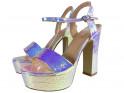 Sandały na platformie opalizujące srebrne - 5