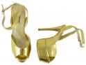 Złote sandały na platformie buty damskie