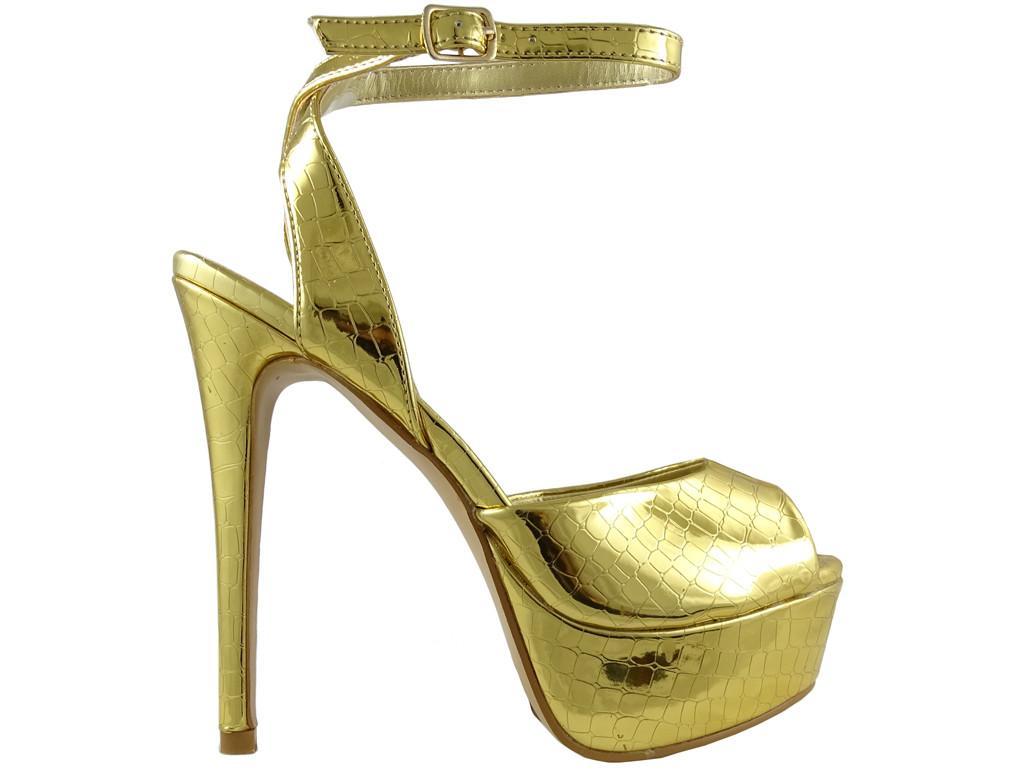 Złote sandały na platformie buty damskie - 1