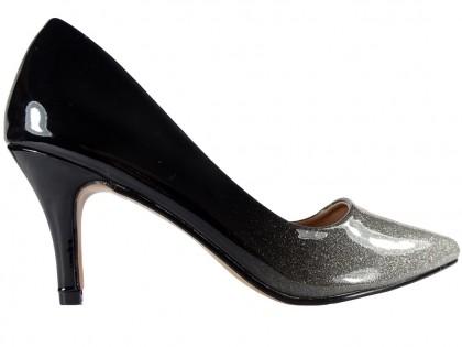 Niskie srebrne czarne ombre szpilki brokat