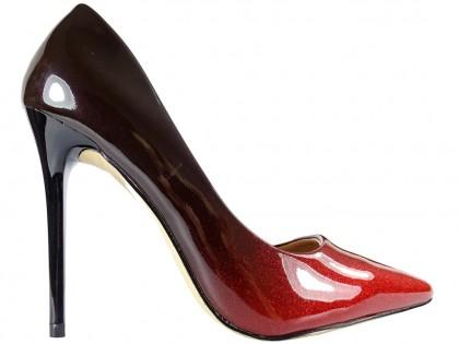 Błyszczące czerwone czarne ombre szpilki damskie - 1