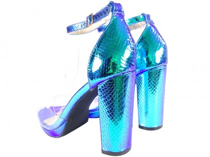 Women's blue iridescent ankle strap sandals - 2