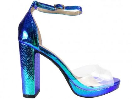 Women's blue iridescent ankle strap sandals - 1